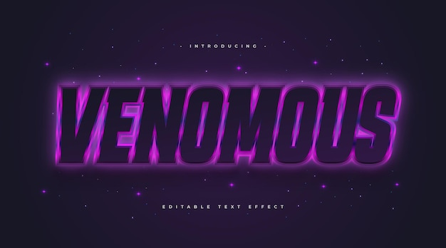 Venomous text style in black and purple with glowing neon effect