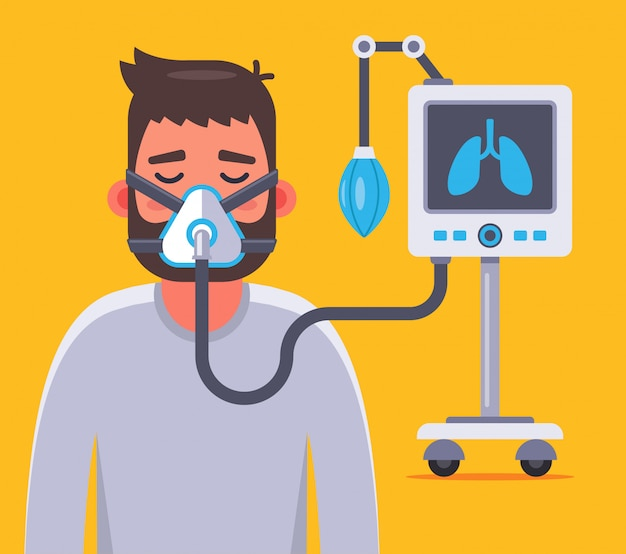 Ventilation of the lungs with a sick coronavirus. character  illustration.