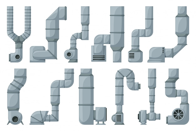 Ventilation pipe cartoon set icon. isolated cartoon set icon ventilation pipe. illustration air system on white background.