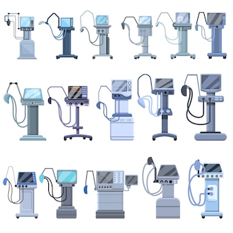Ventilator medical machine icons set. cartoon set of ventilator medical machine  icons for web