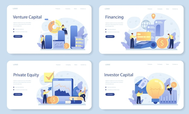 Venture capital web banner or landing page set