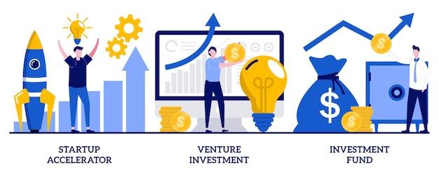 小さな人々のイラストとベンチャー投資ファンドのコンセプト