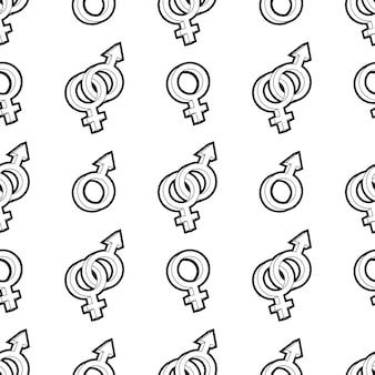 Venus and mars signs seamless pattern