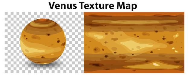 金星のテクスチャマップで透明な金星の惑星