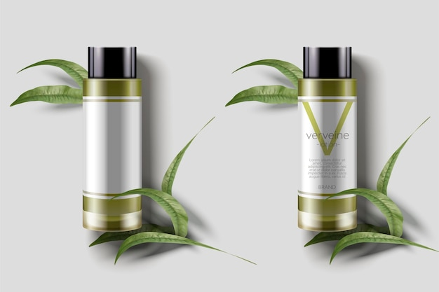 버베나 로션 모형, 3d 그림에서 녹색 잎이있는 빈 병 템플릿, 버베나는 프랑스어로 버베나입니다.