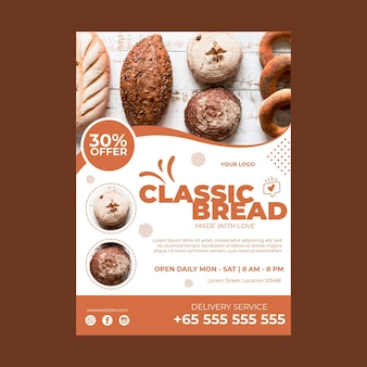 Verical poster template for pastry shop