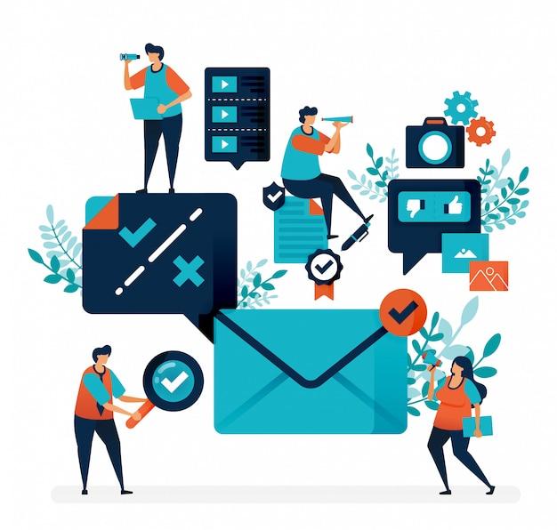 電子メールを受信するための検証と通知。選択を確認または選択解除して、メッセージに返信する