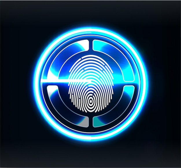 Verification scanners. finger scan in futuristic style. biometric id with futuristic
