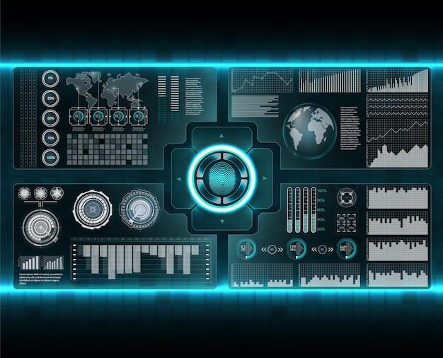 検証スキャナーセット。未来的なスタイルのフィンガースキャン。未来的なhudインターフェースを備えた生体認証id。