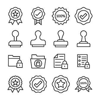 Verified stamp badges icons