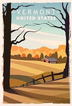 バーモント州のレトロなポスター。アメリカバーモント旅行イラスト。アメリカ合衆国