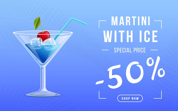 Vermouth with ice web banner template