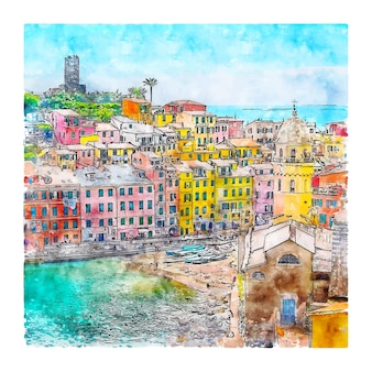 Vernazza italy watercolor sketch hand drawn illustration