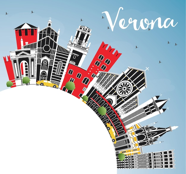 Горизонты города верона италия с цветными зданиями, голубым небом и копией пространства