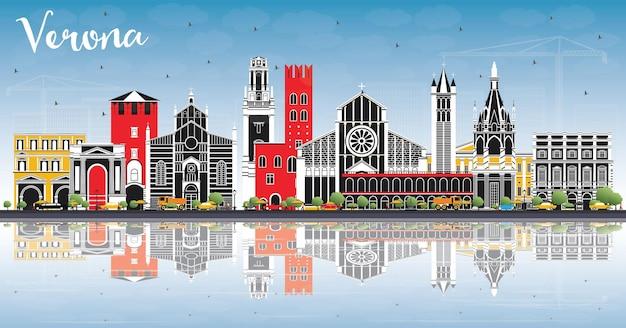 Горизонты города верона италия с цветными зданиями, голубым небом и размышлениями. векторные иллюстрации. деловые поездки и концепция туризма с исторической архитектурой. городской пейзаж вероны с достопримечательностями.