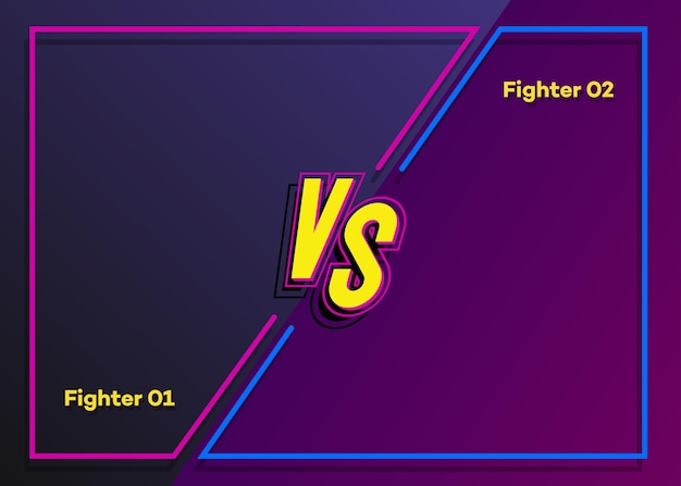 Versus background neon style with frame and vs sign for sport banner