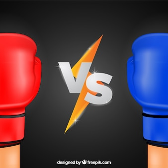 Versus background with boxing gloves
