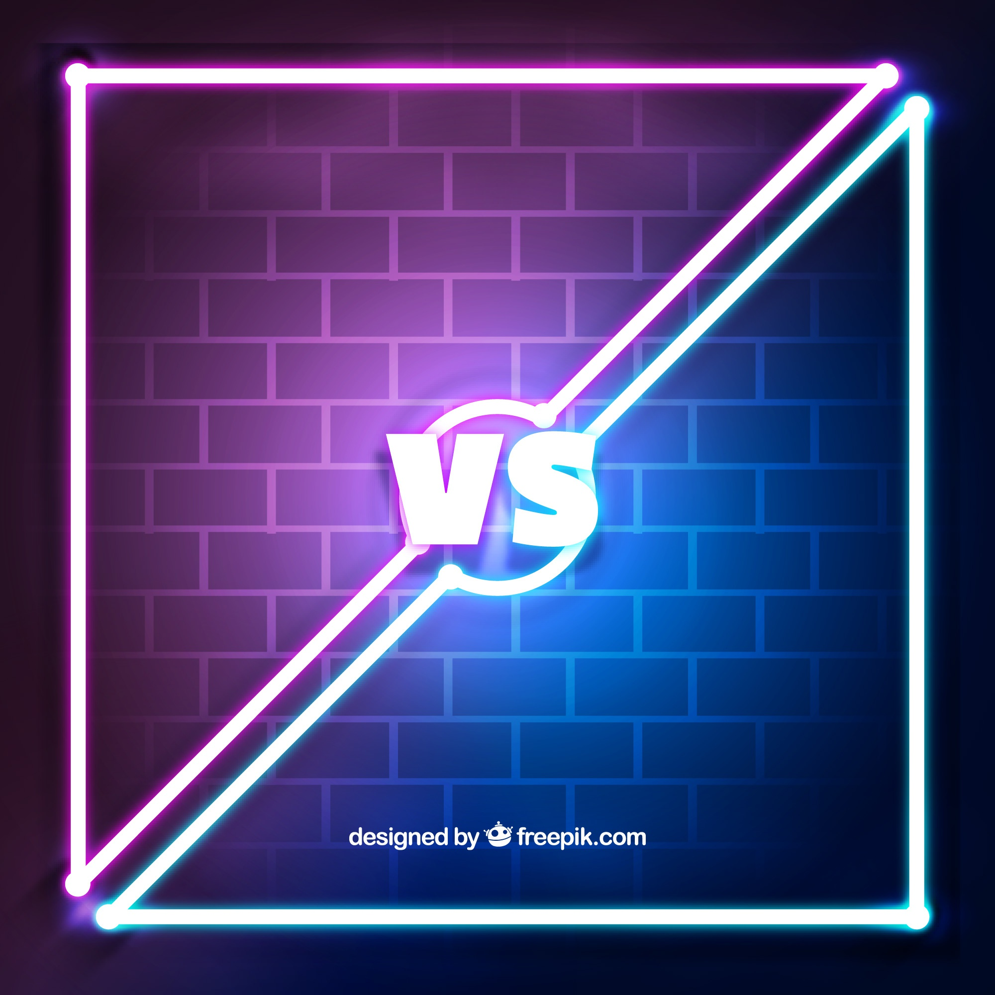 Versus background with neon lights and wall