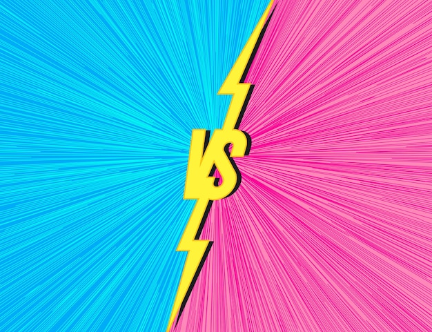 Versus background with vs sign cyan pink color for match game