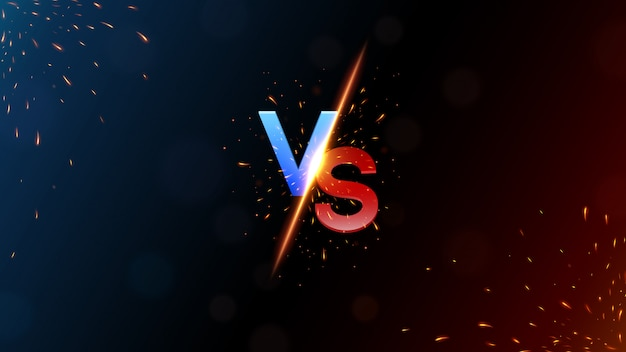 Versus banner with fire sparkling vector