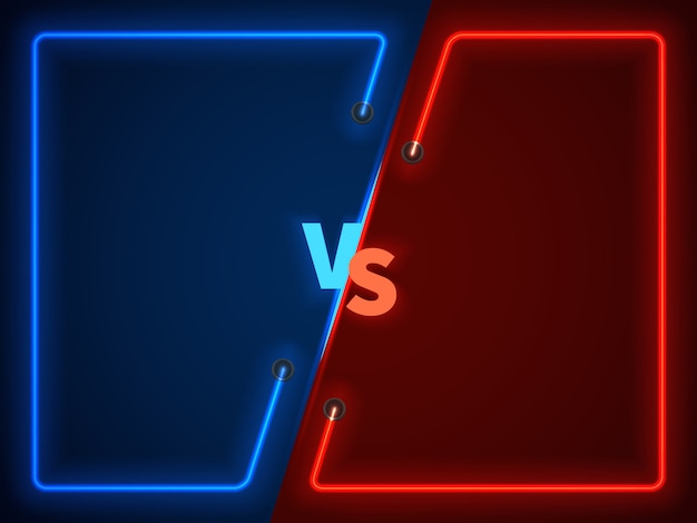 Versus battle, business confrontation screen with neon frames and vs