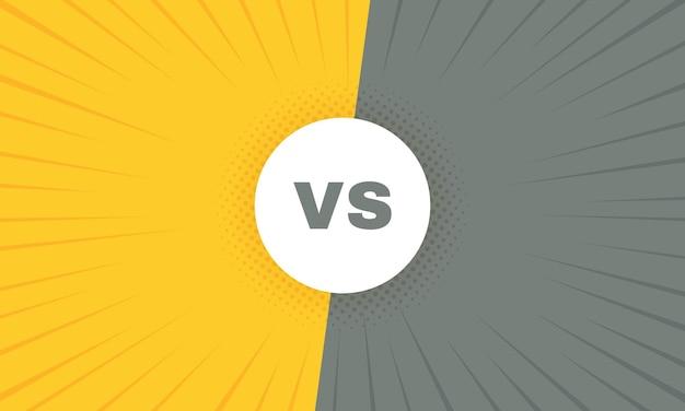 Versus battle retro with sun rays and halftone. vs battle headline.
