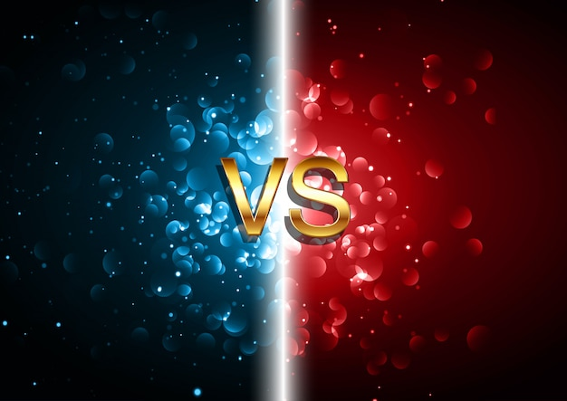 Versus battle screen background with red and blue bokeh lights design
