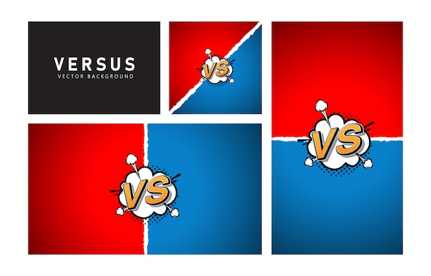 Versus comic style . red blue color.