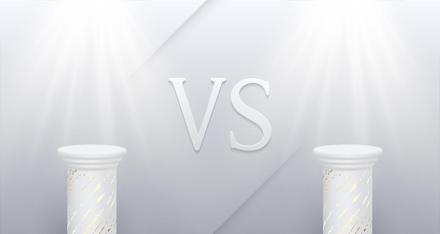 Versus  confrontation white poster with empty marble pedestals soffits and vs sign battle business confrontation rivalry match challenge sport competition vector background