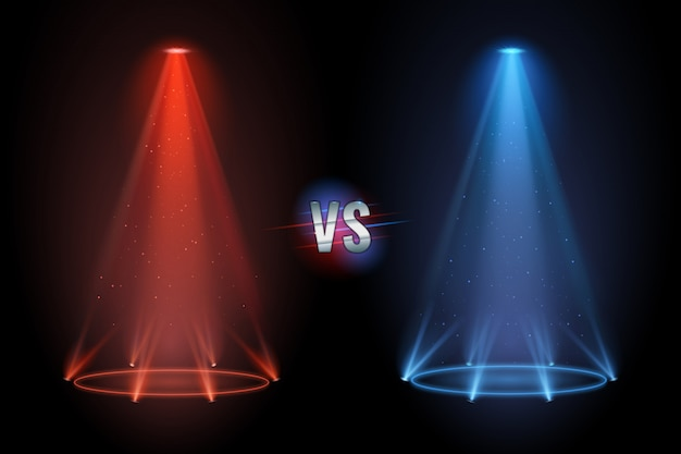 Versus flooring. battle projector shining pedestal floor for vs boxing confrontation match.
