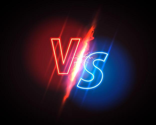 Versus обложка игры, неоновый баннер спорт против, концепция команды