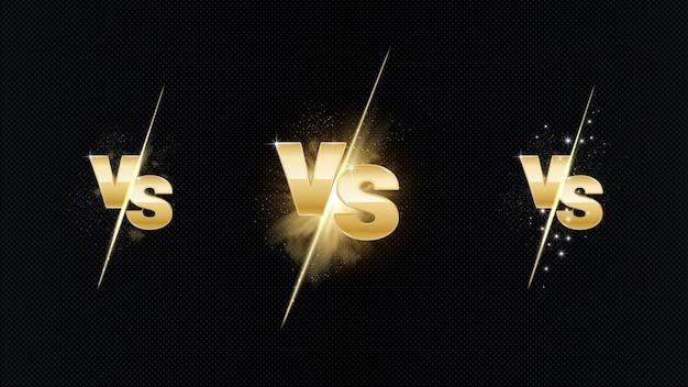Против золотой огненной битвы. концепция мма - ночь боя, мма, бокс, борьба, тайский бокс. vs металлических букв с легким огнем и свечением. против битвы.