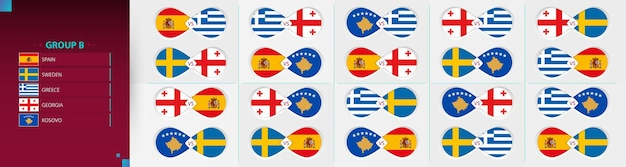 Versus icon set of football competition, group b collection.