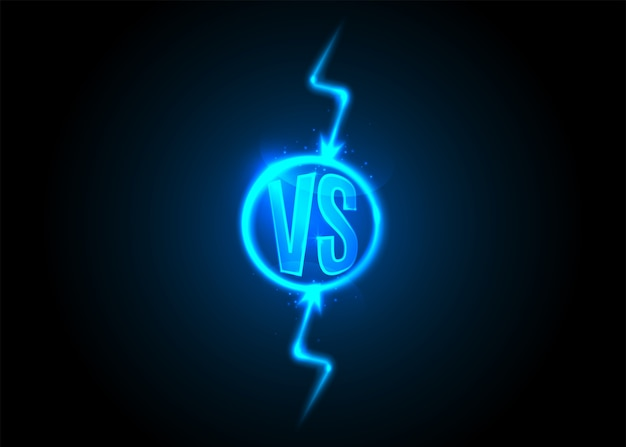 Versus icon. vs letters is into round circle. lightning bolt. blue neon cartoon thunder.