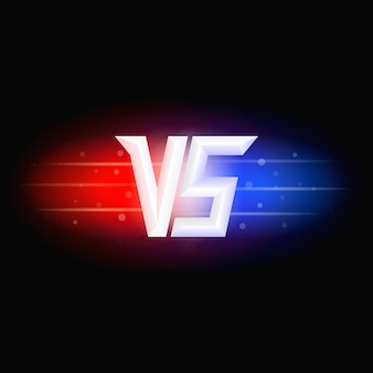Versus isolated logo. competition symbol vs. red and blue lights.