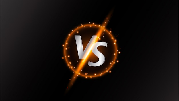 Versus letter shining on black background with sparks effect