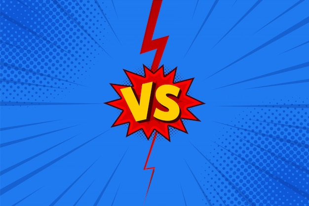 Versus letters fight in flat comics style design with halftone