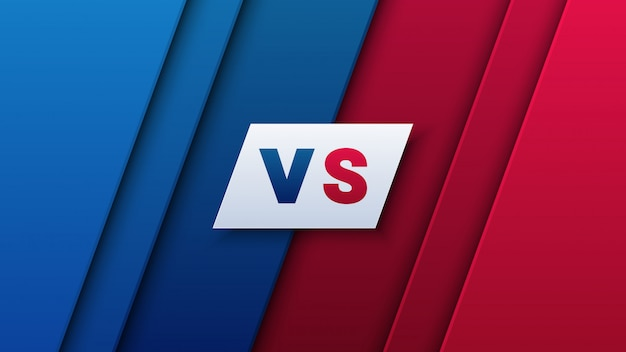 Versus letters for sport on red and blue background