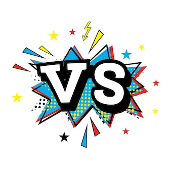 Versus letters or vs logo. comic text in pop art style. vector illustration
