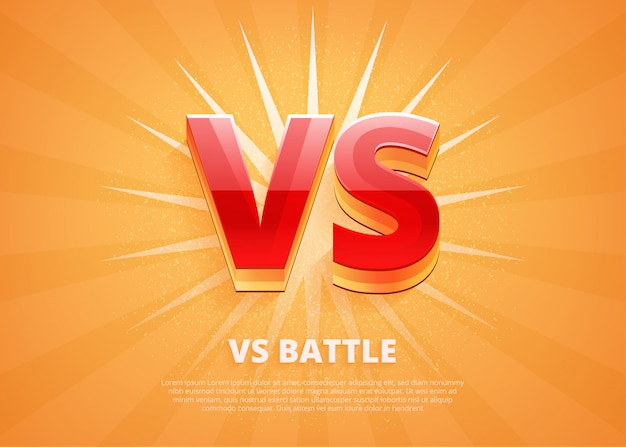 Versus logo vs letters for sports and fight competition. battle vs match, game concept competitive vs.