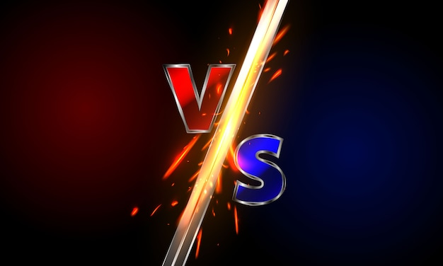 Versus logo vs letters for sports and fight competition.