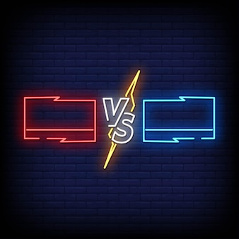 Versus neon signs style text .