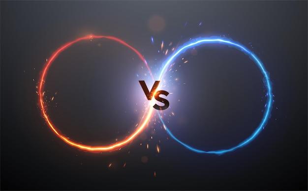 스파크 효과가있는 빨간색과 파란색 원과 비교