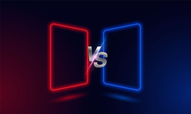 Versus red blue neon light frame .
