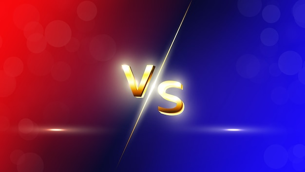 Versus red and blue vs letters background for sports, fight competition, battle, match and games.