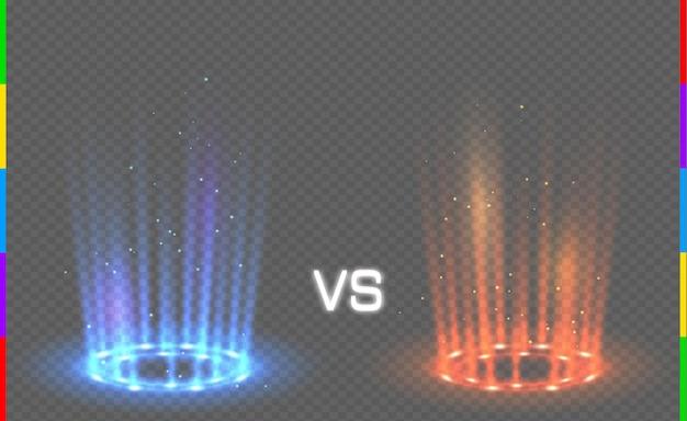 투명한 배경에 불꽃이 있는 둥근 파란색 및 빨간색 광선 광선과 대조됩니다. 조명 효과 연단. 디스코 클럽 댄스 플로어. 빔 스테이지. 마법의 판타지 포털. 미래의 뜨겁고 차가운 텔레포트.