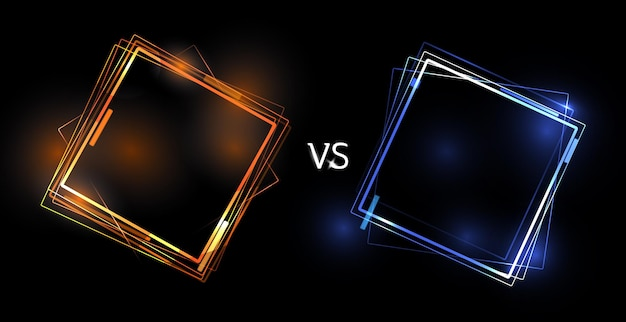 対画面の概念。 2人のプレーヤーのベクトル図のネオン未来の発表