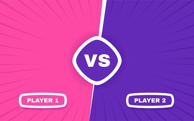 화면 대. 플레이어 1과 플레이어 2 사이의 대 전투. 대결 싸움 경쟁.