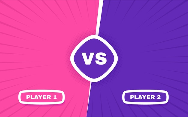 Versus screen. vs battle between player 1 and player 2. confrontation fight competition.