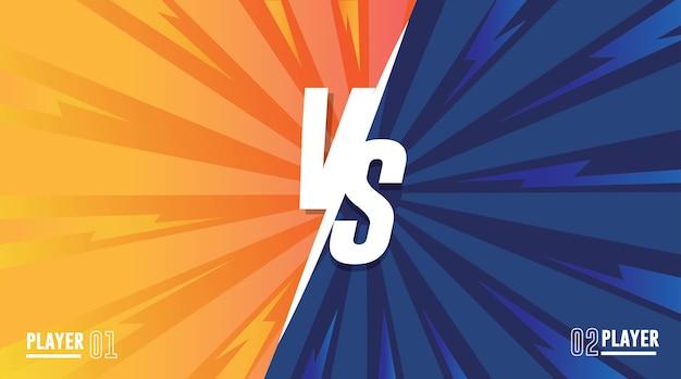 Versus screen. vs fight background for battle,  orange vs blue fighter.